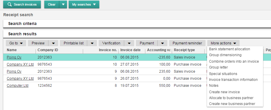Invoice transaction information
